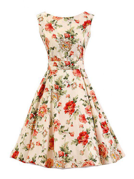 unique Floral Print Sleeveless Vintage Flare Dress - BEIGE 2XL