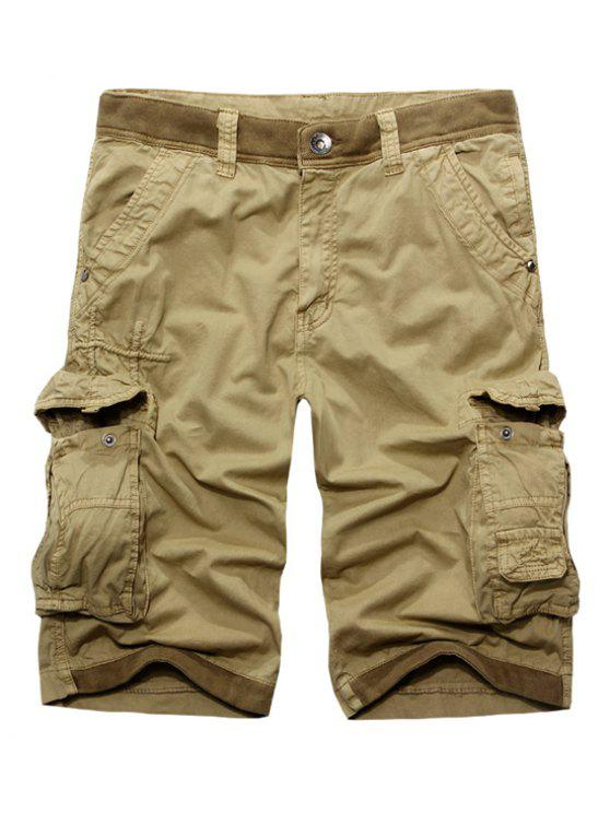 womens Casual Zip Fly Solid Color Multi-Pockets Cargo Shorts For Men - KHAKI 32