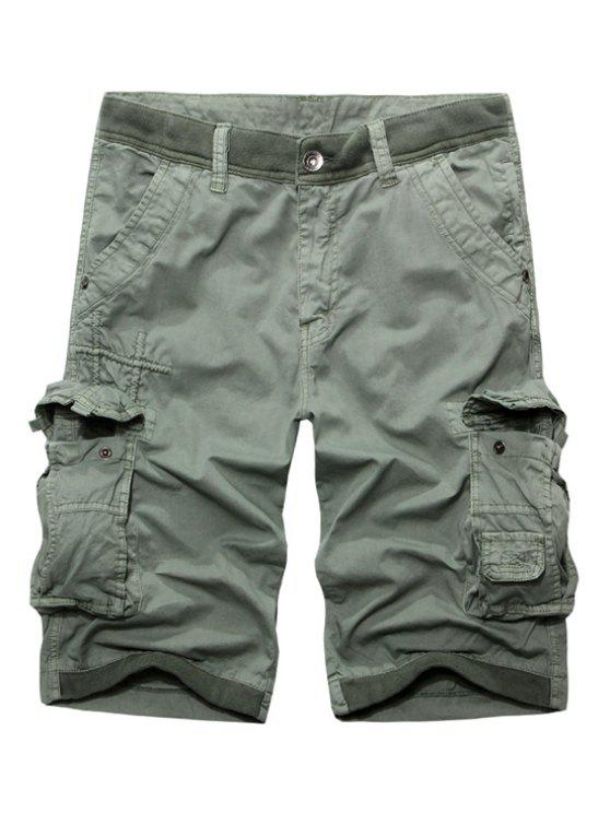 online Casual Zip Fly Solid Color Multi-Pockets Cargo Shorts For Men - LIGHT GRAY 36