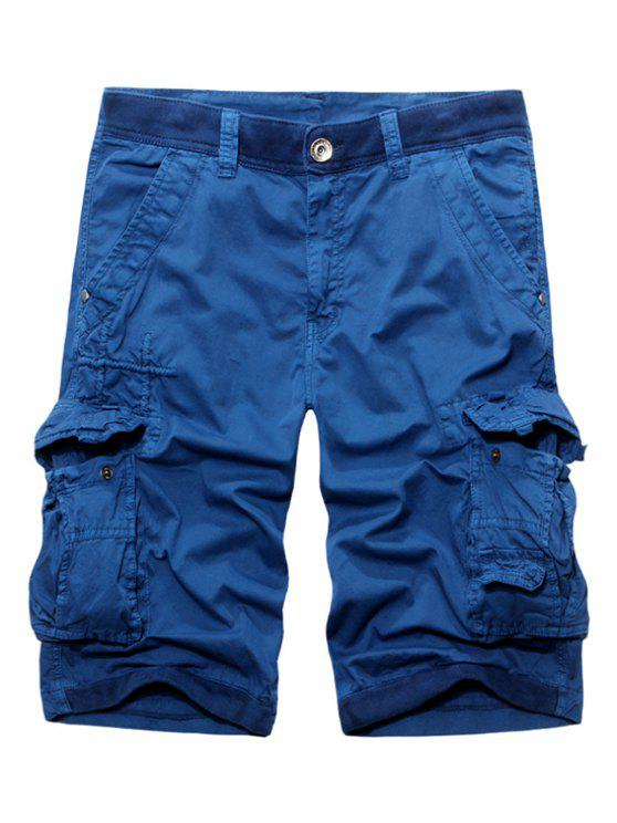online Casual Zip Fly Solid Color Multi-Pockets Cargo Shorts For Men - BLUE 34