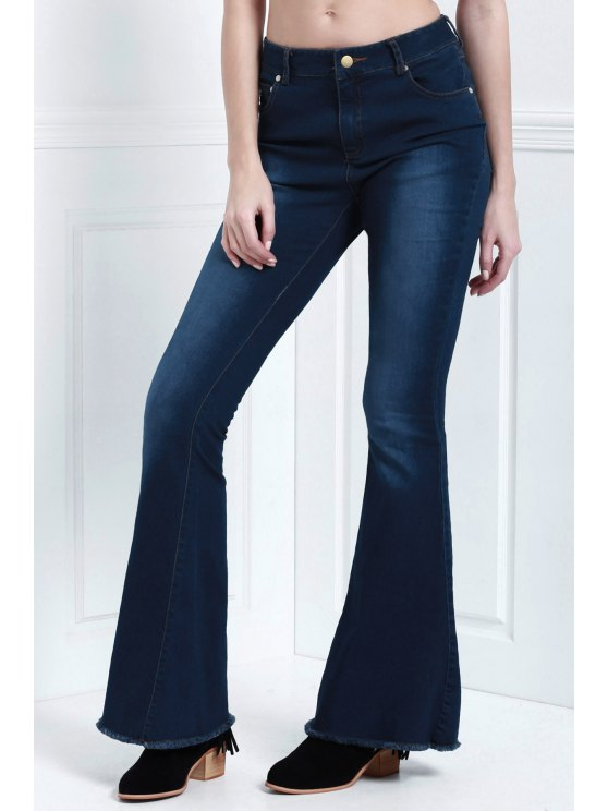 trendy Denim Super Flare Jeans - DEEP BLUE XL