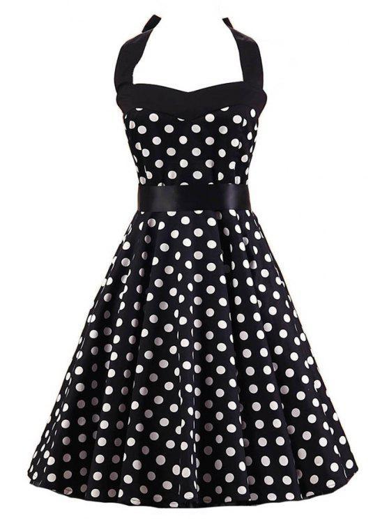 chic Polka Dot Halter Flare Dress - WHITE AND BLACK M