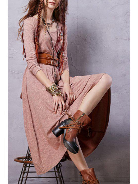 Robe chinée à col bénitier à manches longues - Rose Clair XL