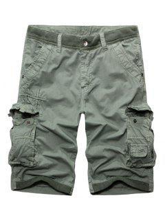 Zip Fly Casual Solides Couleur Multi-Poches Cargo Pants Courtes Pour Les Hommes - Gris Clair 38