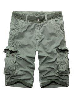 Casual Zip Fly Solid Color Multi-Pockets Cargo Shorts For Men - Light Gray 36