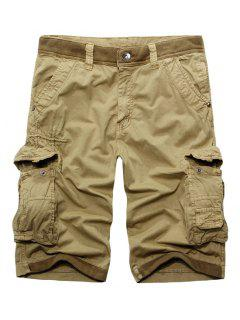 Casual Zip Fly Solid Color Multi-Pockets Cargo Shorts For Men - Khaki 36