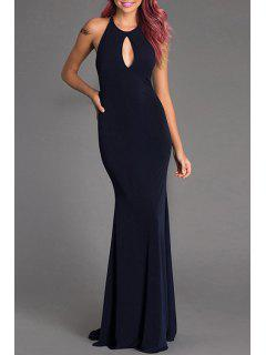 Backless Cut Out Fishtail Dress - Deep Blue L