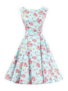 Tiny Floral Print Round Collar Sleeveless Dress - Light Green Xl