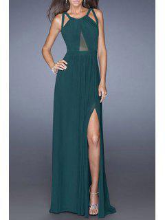 Mesh Design High Slit Crisscross Back Prom Dress - Green M