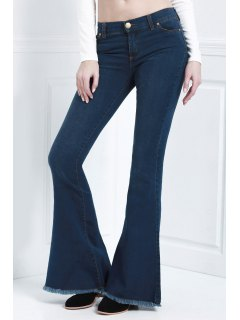 Bell Bottom Stylish Pure Color Women's Jeans - Blue L