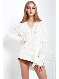 V-Neck Cable Knit High Low Sweater - White M