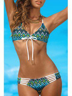 Geometric Print Spaghetti Strap Bikini Set - Marine Green L
