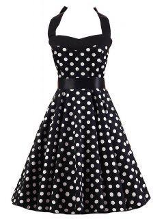 Polka Dot Halter Flare Dress - White And Black 2xl