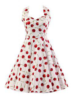 Cherry Print Halter Flare Dress - White L