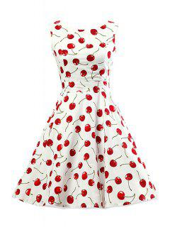 Cherry Print Scoop Neck Sleeveless Flare Dress - White 2xl