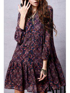 Ethnic Print Long Sleeve Chiffon Dress - Deep Purple M