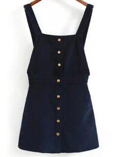 Solid Color Corduroy Straps Dress - Purplish Blue S
