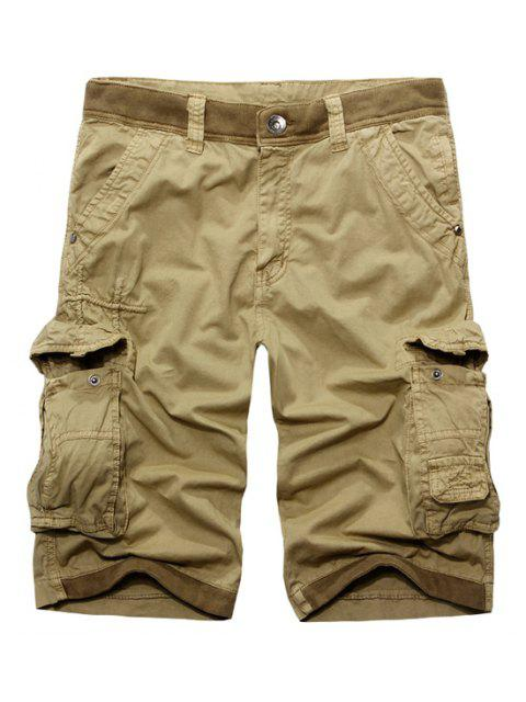 womens Casual Zip Fly Solid Color Multi-Pockets Cargo Shorts For Men - KHAKI 32 Mobile