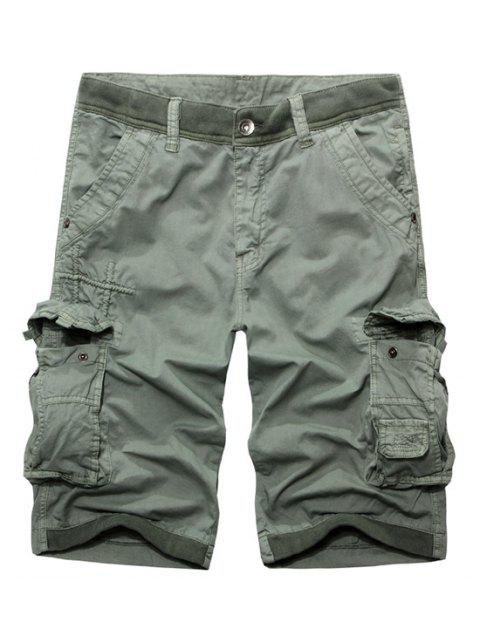 ladies Casual Zip Fly Solid Color Multi-Pockets Cargo Shorts For Men - LIGHT GRAY 38 Mobile