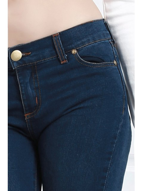outfit Bell Bottom Stylish Pure Color Women's Jeans - BLUE S Mobile