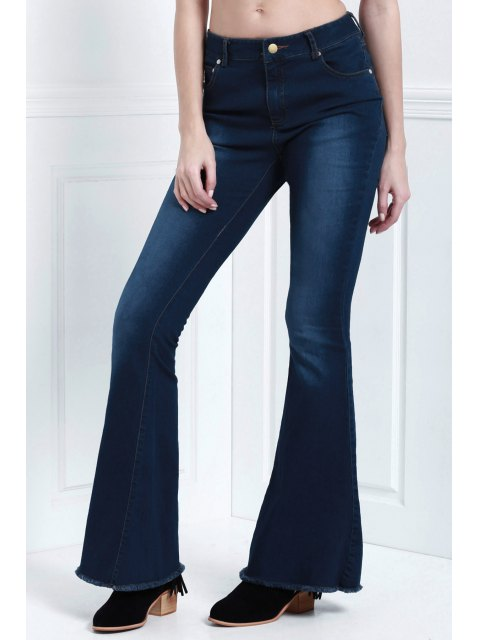 trendy Denim Super Flare Jeans - DEEP BLUE XL Mobile
