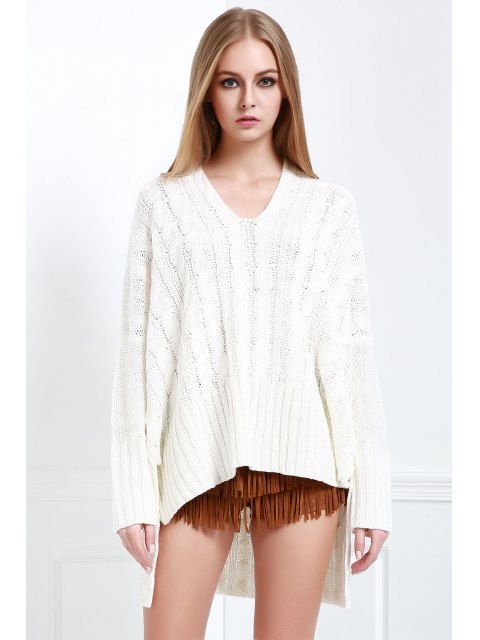 affordable V-Neck Cable Knit High Low Sweater - WHITE L Mobile