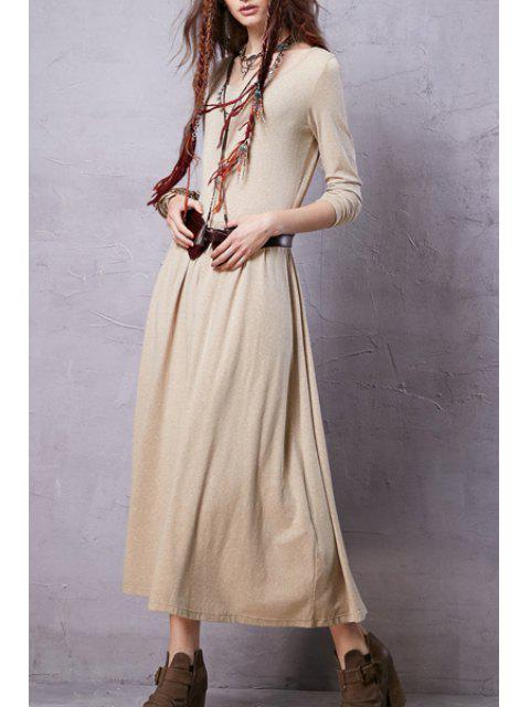 lady Heathered Scoop Neck Long Sleeve Dress - BEIGE S Mobile