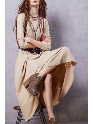 Heathered Scoop Neck Long Sleeve Dress - Beige S