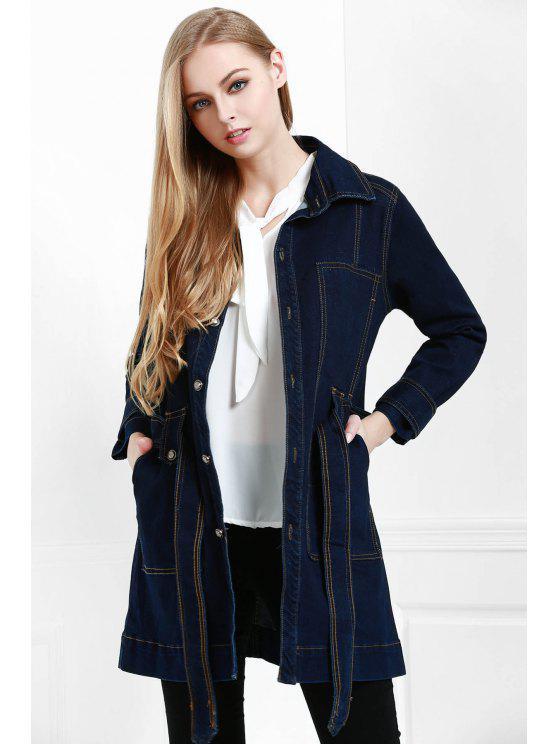 ladies Belted Single-Breasted Denim Coat - PURPLISH BLUE S