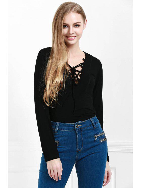 womens Lucky Lace Up Top - BLACK S