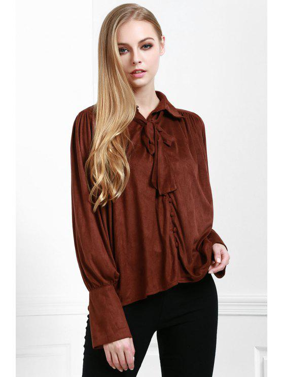sale Modern Muse Tie Front Blouse - COFFEE L