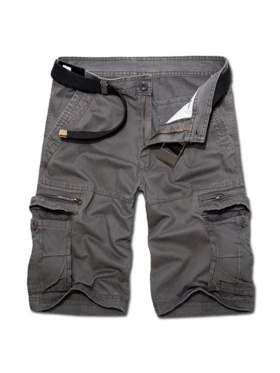 Casual Loose Fit corto Multi-bolsillos con cremallera sólidos pantalones de color de carga para los hombres - Gris Oscuro 34