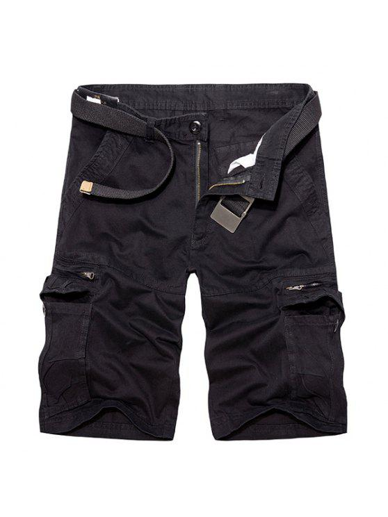 women Casual Loose Fit Multi-Pockets Zip Fly Solid Color Cargo Shorts For Men - BLACK 32