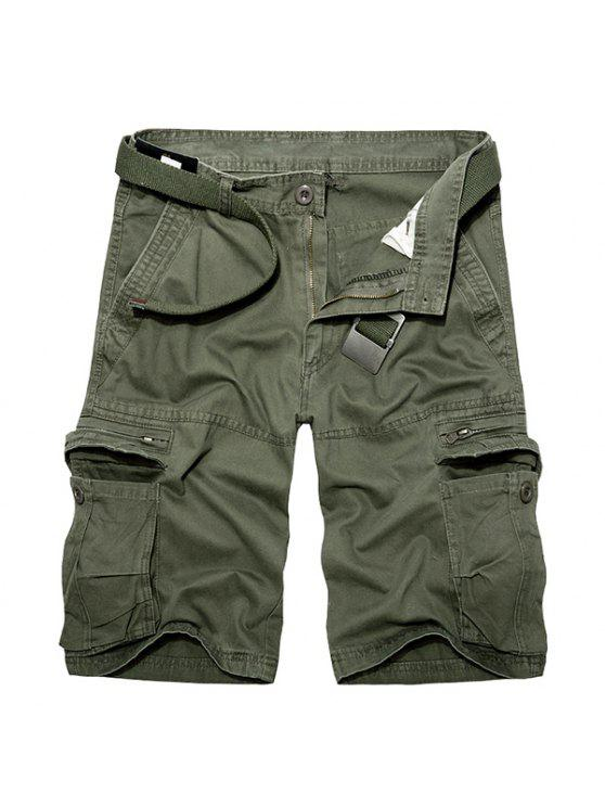 new Casual Loose Fit Multi-Pockets Zip Fly Solid Color Cargo Shorts For Men - ARMY GREEN 40