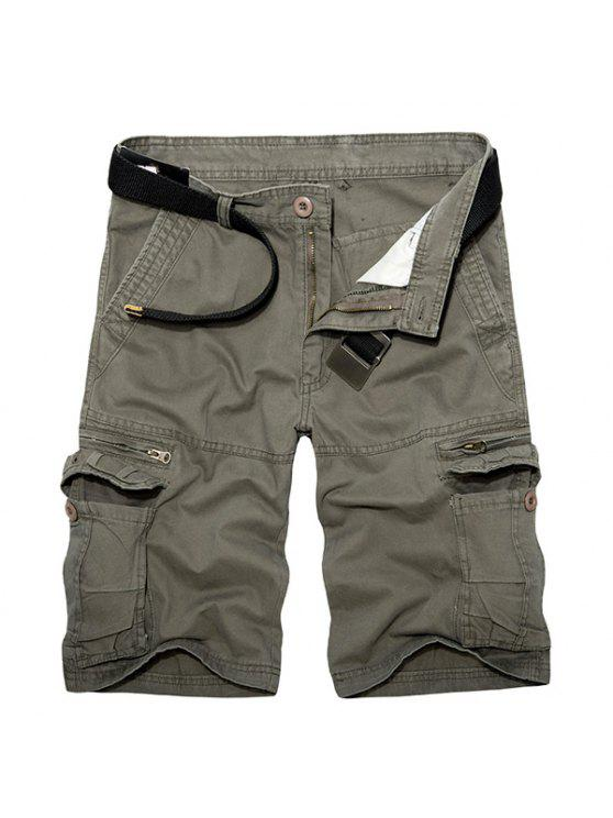 sale Casual Loose Fit Multi-Pockets Zip Fly Solid Color Cargo Shorts For Men - GREEN 36