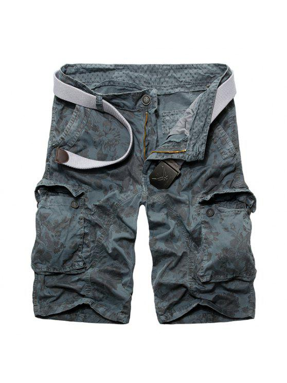 Lässige Loose Fit Zip Fly Camo Short Multi-Pockets Cargo Pants für Männer - Hellblau 38