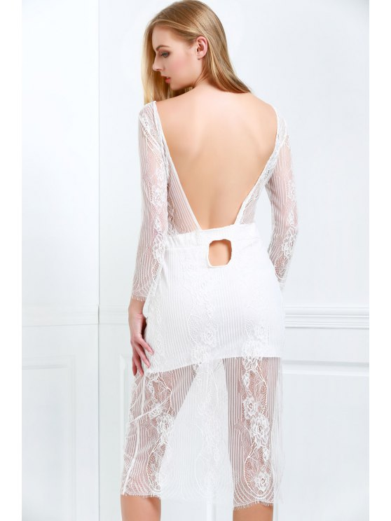 White Lace Scoop Neck 3/4 Sleeve Dress - Branco M