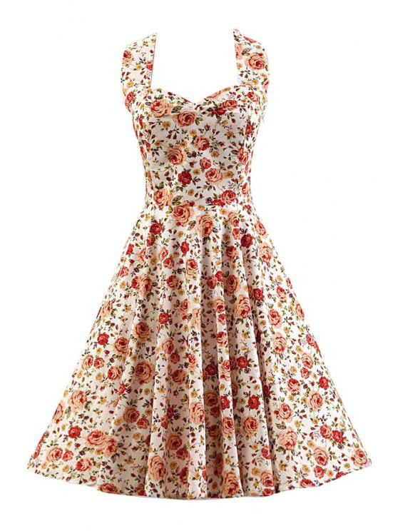 lady Smocked Rose Print Swing Dress - WHITE L