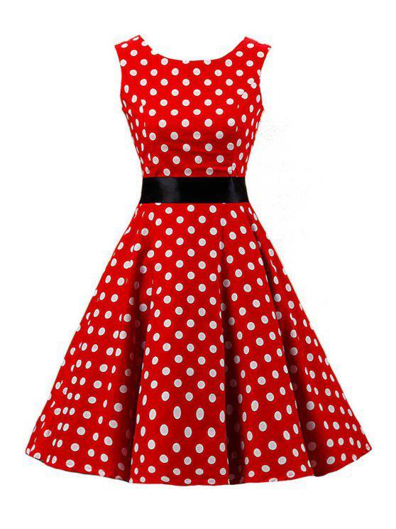 Sleeveless Polka Dot Pin Up Dress Red Dresses 2017 S Zaful