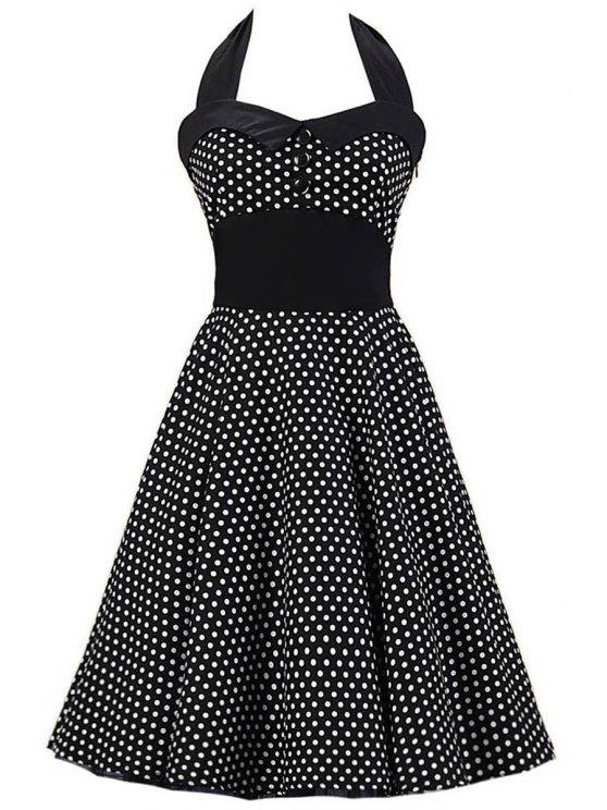 Polka Dot Bowknot Design Pin Up Dress - Preto S