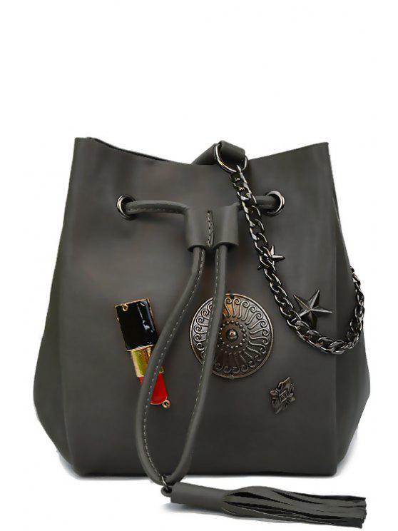 trendy Lipstick Medal Chains Crossbody Bag - GRAY