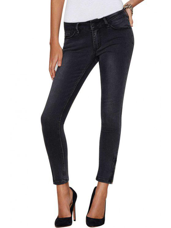 women Mid-Waisted Skinny Black Ninth Jeans - BLACK L