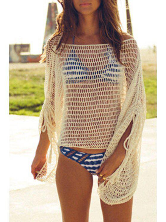 women's Crocheted Loose Fitting Hollow Out Cover Up - WHITE ONE SIZE