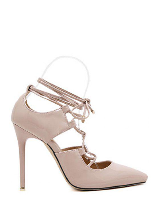 womens Solid Color Cross-Strap Stiletto Heel Pumps - NUDE 37