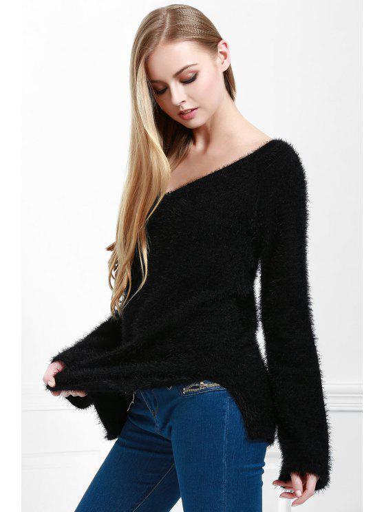 women's Angora V-Back Tunic - BLACK ONE SIZE(FIT SIZE XS TO M)