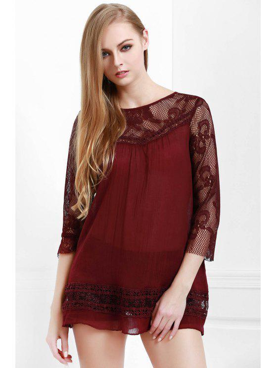 shop Lace Spliced See-Through Blouse - CLARET S