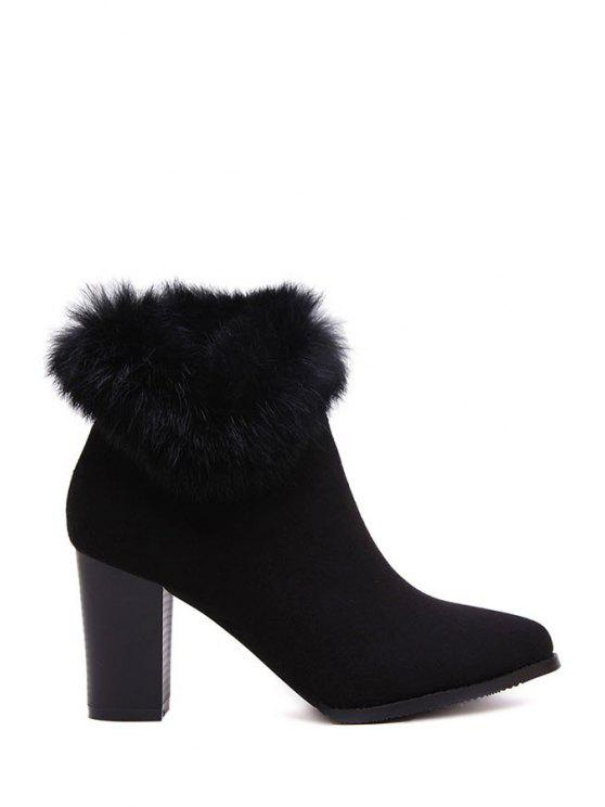 shop Faux Fur Suede Chunky Heel Short Boots - BLACK 39