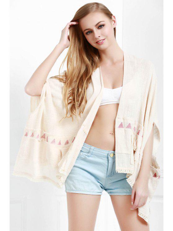 women's Batwing Sleeve Fringed Kimono - WHITE S
