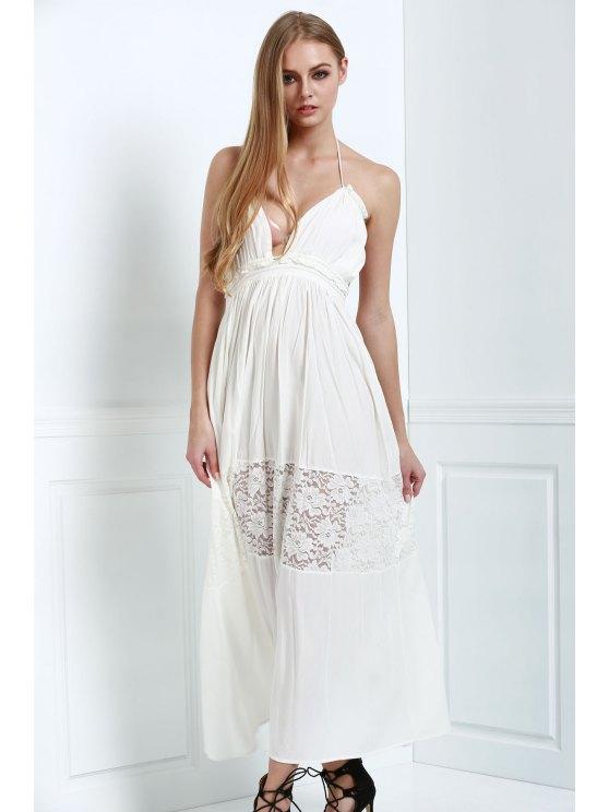 womens White Spaghetti Straps Maxi Dress - WHITE M