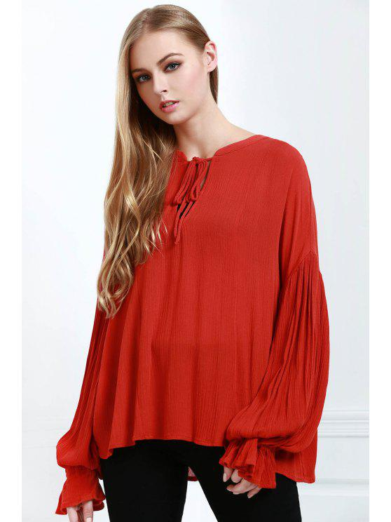 hot Lace-Up Solid Color Lantern Sleeves Blouse - ORANGE S